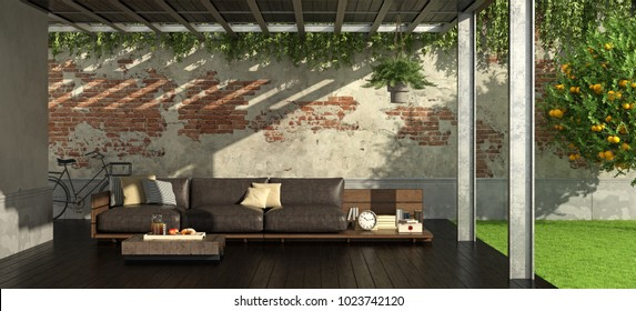Garden with iron pergola and rustic style sofa - 3d rendering