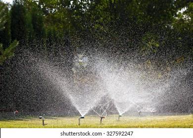 Garden irrigation system watering lawn
