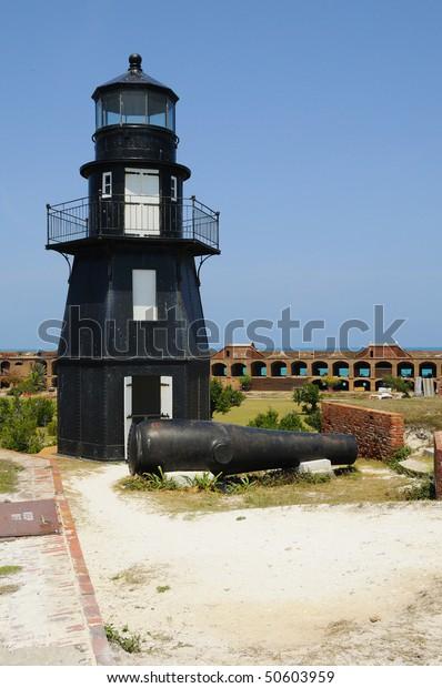 Garden Key Lighthouse Dry Tortugas National Stock Photo