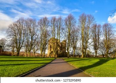 Garden of Knaresborough Castle in North Yorkshire, the UK