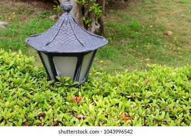 Garden lamp with green grass