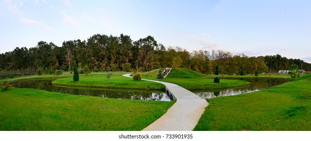 Garden landscape design pond and cascade nature panorama