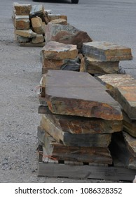 Garden and Landscape:  Flat rock slabs used in landscaping.