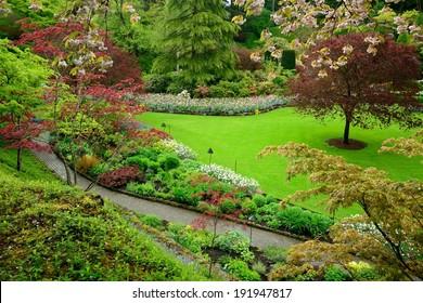garden landscape in spring, victoria, british columbia, canada