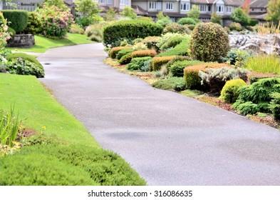 Garden landscape and walking path