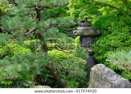Garden Lantern Of The Japanese Garden