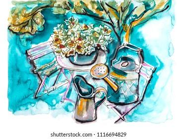 garden life illustration, mix media
