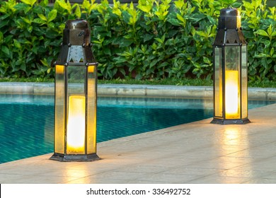 Garden light in the home garden./ Garden light in the home garden.