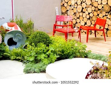 Garden modern design resting place at Chelsea Flower Show