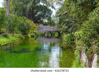 GARDEN OF NINFA, CISTERNA DI LATINA, ITALY - 22 JUNE 2014 - A landscape garden in the central Italy.  The landscape garden within the park comprises 8 hectares and contains medieval ruins.