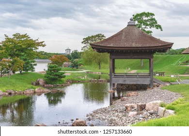 The garden of Ninomaru in Ako-jo castle  in Ako city, Japan
