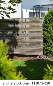 garden outdoor fence divider wooden and green in south germany rural countryside