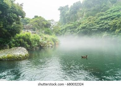 Garden Park at Cheonjiyeon Waterfalls in Jeju Island, South Korea