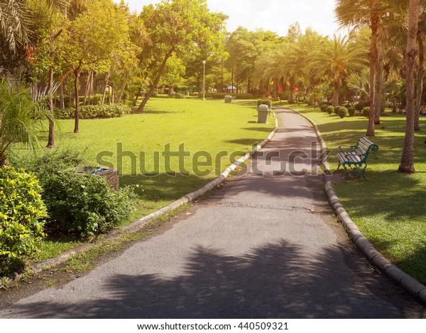 garden park road benches landscape