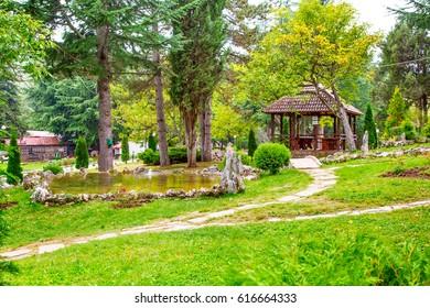 Garden park view of Saint Naum Monastery near Ohrid in Macedonia