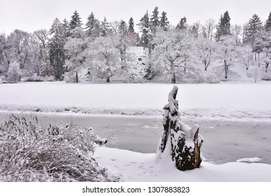 garden and parkland in Pruhonice near Prague in winter,Czech republic