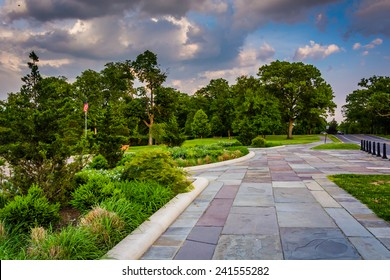 Garden and path at Druid Hill Park in Baltimore, Maryland.