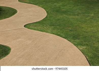 Garden path with grass growing