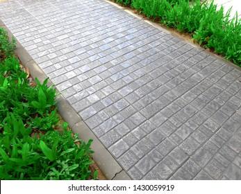 Garden path of paving slabs in the garden Floor panels, walkways of parks