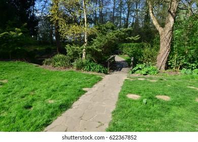 A garden path at the Riverside walk in Horsham, West Sussex.