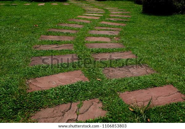 Garden Paths Walkways Stone Slabs Used Stock Photo Edit Now