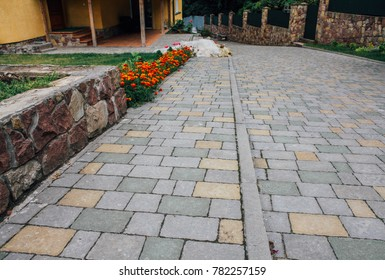 Garden Patio in Backyard Stone Brick Pavers Hardscape Layout Design Top View