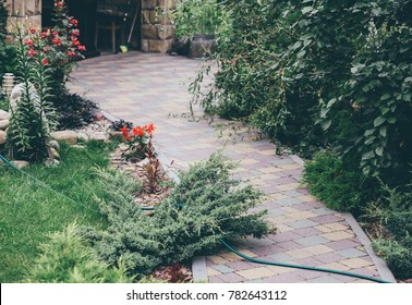 Garden Patio in Backyard Stone Brick Pavers Hardscape Layout Design Top View, colorful