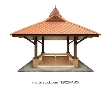 Garden pavilion, thai style (with clipping path) isolated on white background