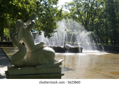 Garden of Peterhof, Petersburg, Russia.