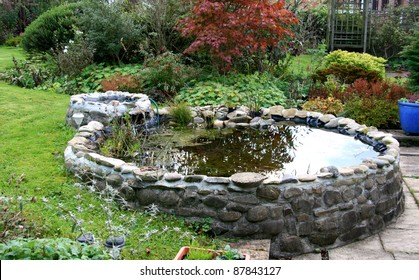 Garden Pond with small trickle waterfall