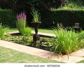 A garden pond with statuary and plants.