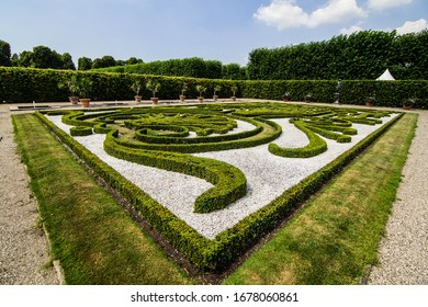 Garden with royal decor. Natural park. Ultra wide angle photography