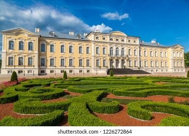 Garden in Rundale Palace in a beautiful summer day, Latvia