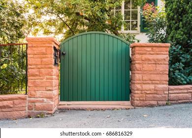 Garden Rustic Entrance Gate Door Residential Home Wall Bricks Exterior