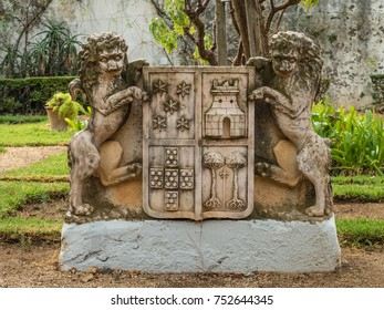 In the Garden of San Francisco Church in Tavira, Portugal. Portuguese South Atlantic Coast.