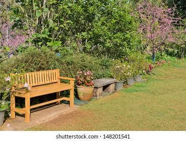 Garden scene with bench