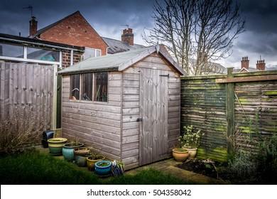 Garden shed in the backyard