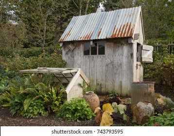 Garden Shed on an Allotment in Rural Devon, England, UK