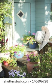 Garden shed and summer flowers