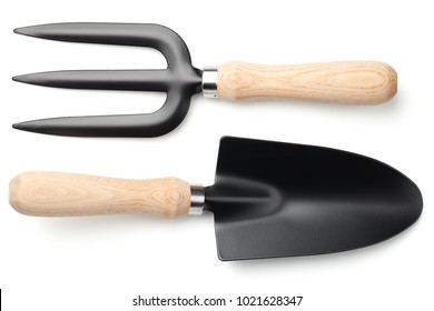 Garden shovel and fork isolated on white background. Top view