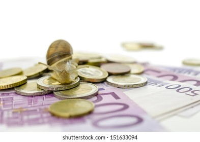 Garden snail on Euro coins and banknotes. With copy space. Concept of slow financial crisis recovery.