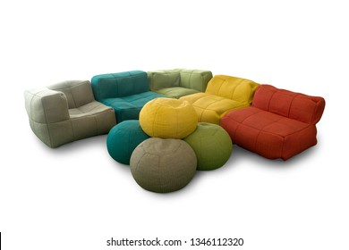 garden sofa with pillows on a white background