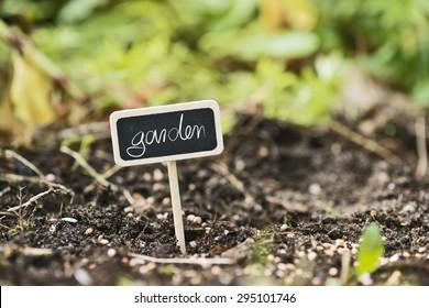 garden soil with a label saying garden