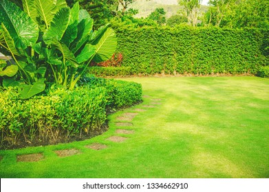 Garden in spring, Pathways with green lawns, Landscaping in the garden, Curve walkway on green grass field and flower garden.