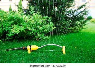 garden sprinkler system irrigates water jets grass and trees