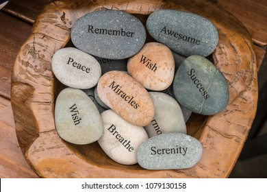 Garden Stones, Rocks with Motivational Words Inscribed on them, Miracles, Peace, Wish, Success, Remember, Awesome, Serenity.