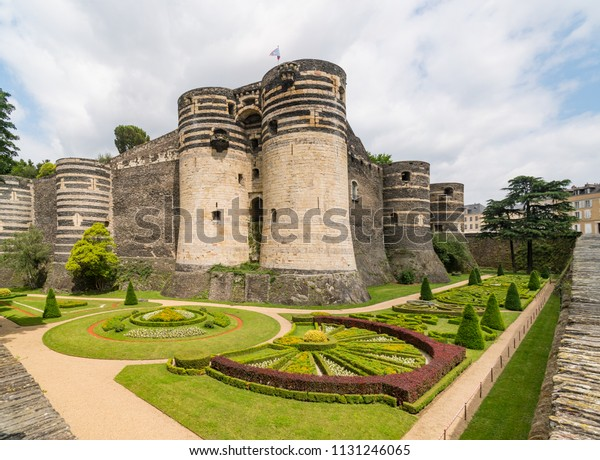 Garden and Structure  of Château d'Angers, a castle in the city of Angers in the Loire Valley, France and founded in the 9th century by the Counts of Anjou.