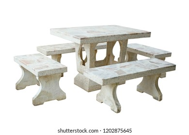 Garden table and chair set (with clipping path) isolated on white background