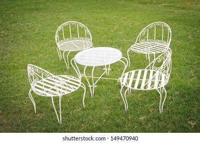Garden table and chairs in holiday.