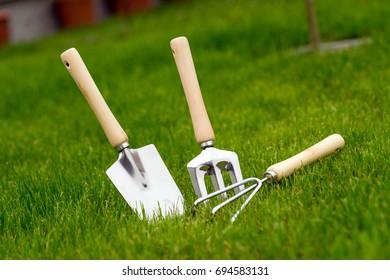 Garden tools in a garden